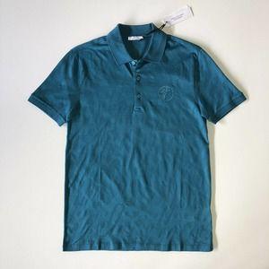 Versace Collection Logo Polo Shirt Teal Size Small